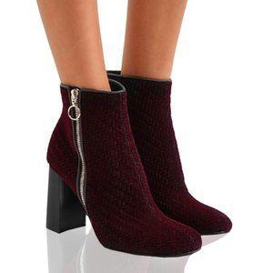 STELLA McCARTNEY🌺Maroon Velvet Ankle Boots